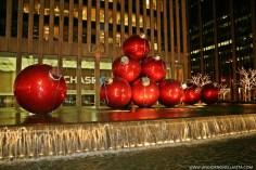 Chase Plaza Red Christmas Balls.