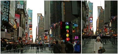At Time Square. We were early birds on the 3rd block! :D