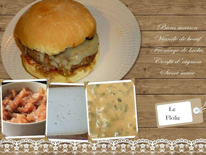 le flolie burger sauce maison morbier oignons confit un grain de flolie. Black Bedroom Furniture Sets. Home Design Ideas