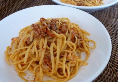 Spaghettis à la tomate & saucisse de Toulouse, façon Antoinette