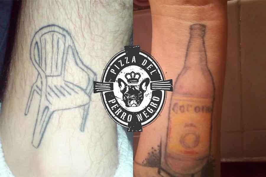 Pizzas Del Perro Negro premió a los 3 tatuajes más feos con comida gratis de por vida