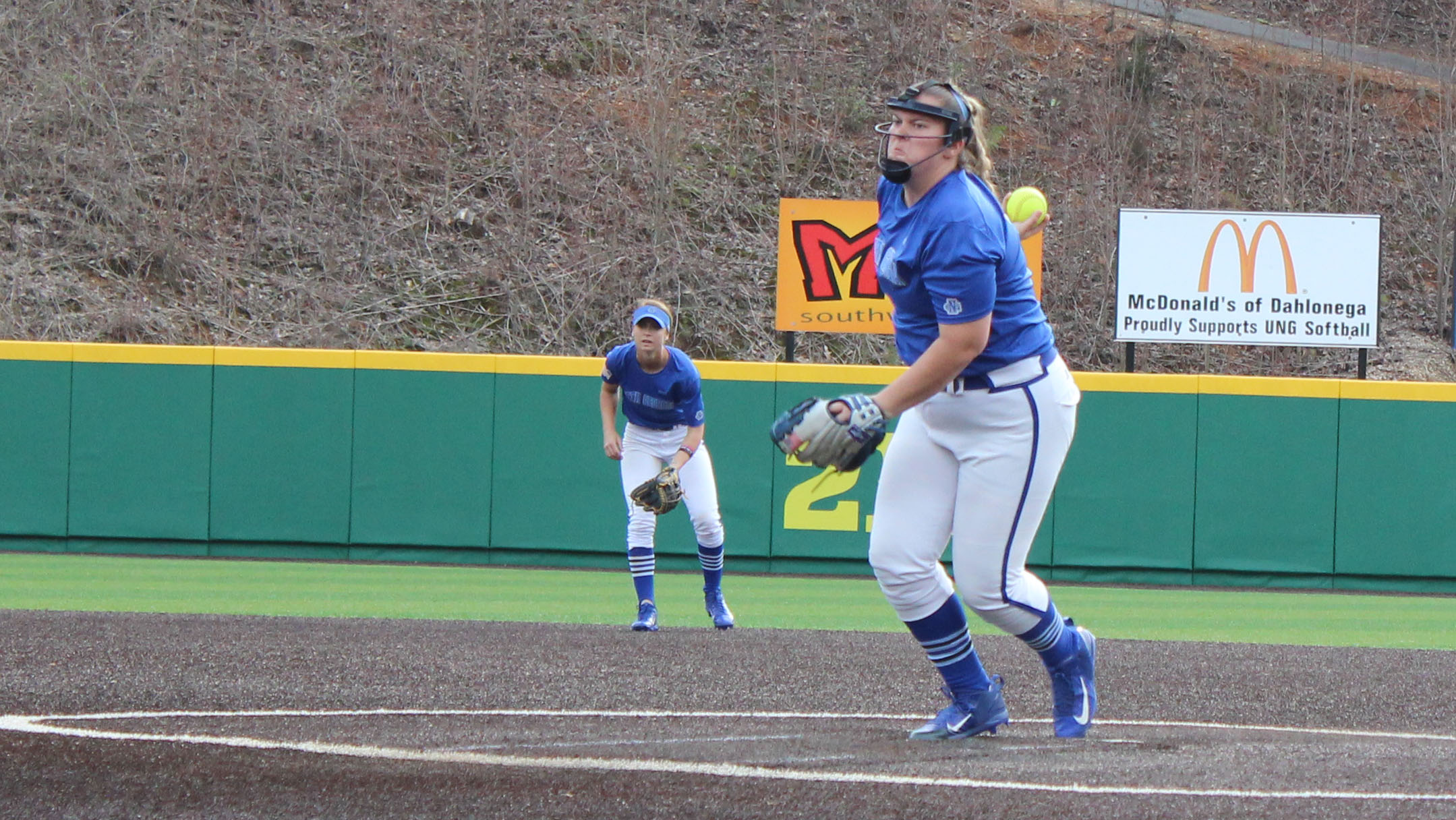 UNG pitcher Amber Johns winds up for a pitch in Sunday's second game. Johns earned the win, only giving up two runs over seven innings. (Photo by Jake Cantrell)
