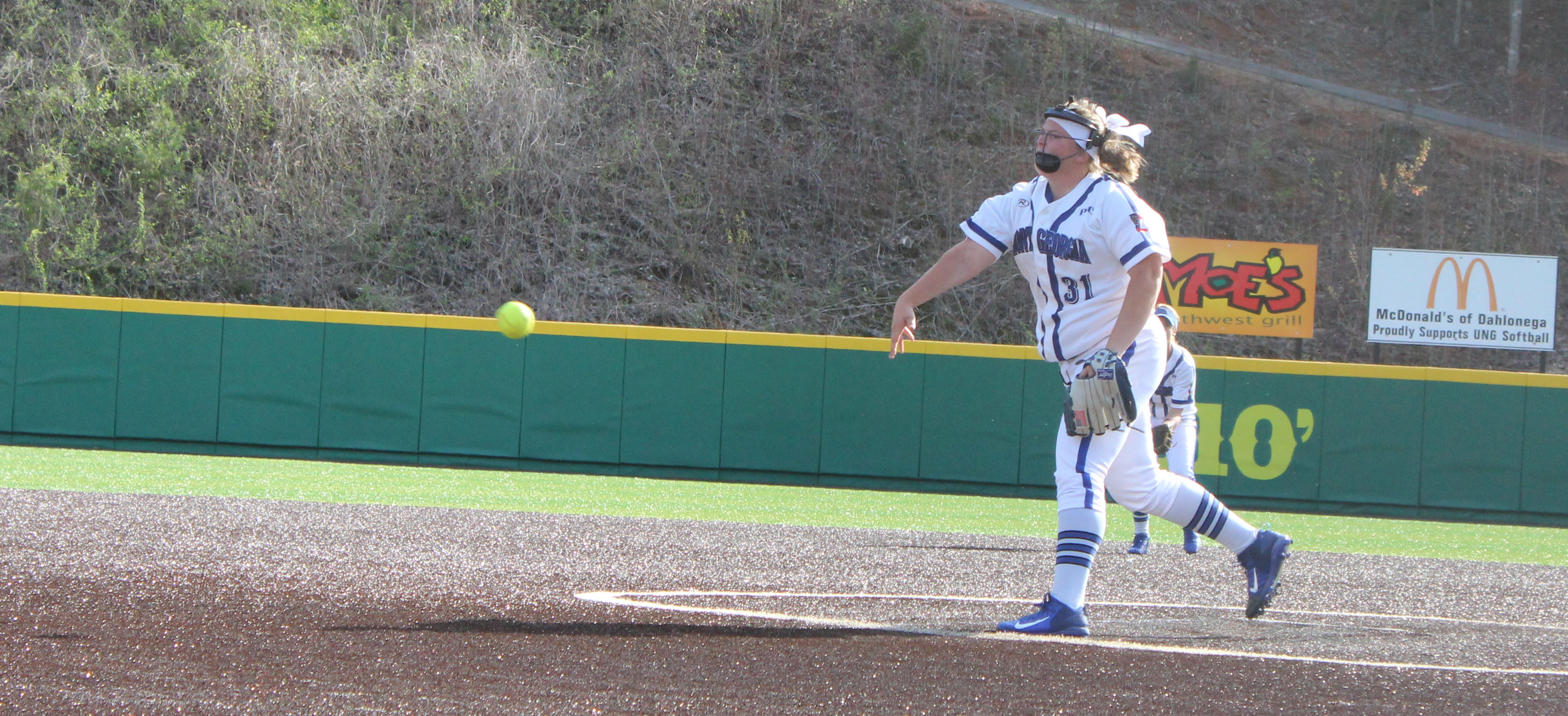 UNG pitcher Amber Johns delivers a pitch during the second leg of Sunday's doubleheader against Lander University. (Photo by Jake Cantrell)
