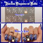 Unhas Decoradas Pinguins de Natal