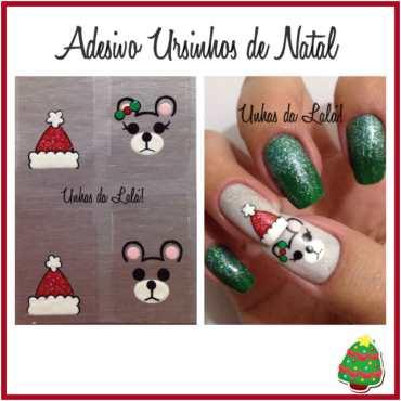Unhas Decoradas Ursinho de Natal