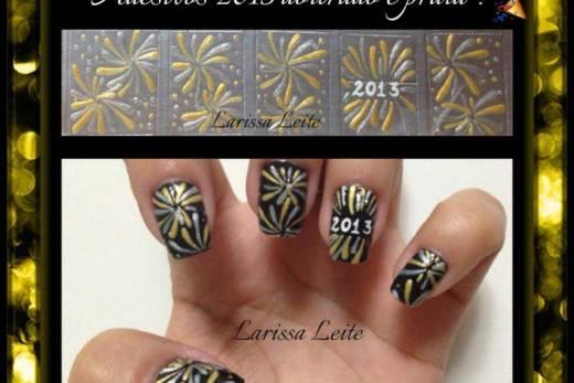 Unhas Decoradas Ano Novo Dourado e Prata 2013