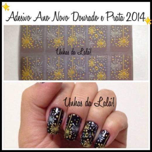 Unhas Decoradas Ano Novo Dourado e Prata 2014