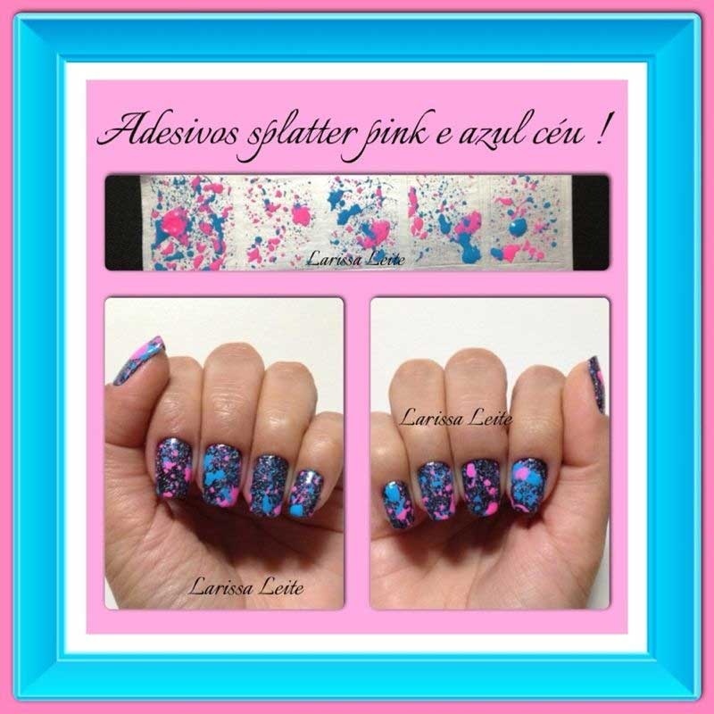Unhas Decoradas Splatter Pink e Azul Céu