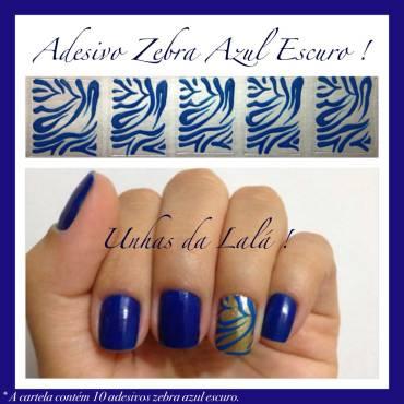 Unhas Decoradas Zebra Azul Escuro