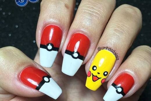 Unhas Decoradas Pokémon GO (Pikachu e Pokebola)