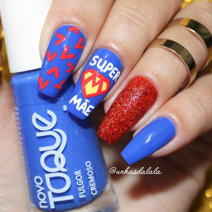 unhas decoradas super mãe, nail art, dia das mães, azul, vermelho, unha azul, unhas vermelha, glitter, mãe, coração