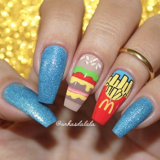 Unhas Decoradas McDonald's - Hambúrguer e Batata Frita