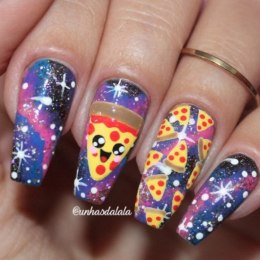 Unhas Decoradas Pizza Kawaii