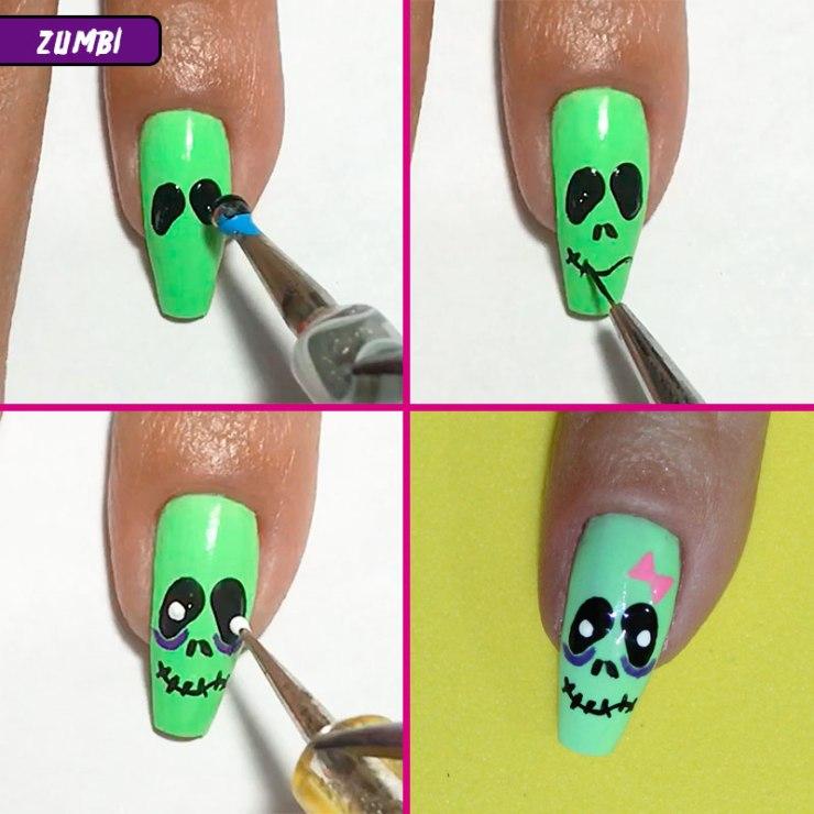 5 unhas fáceis para o halloween, unhas fáceis para o halloween, halloween, unhas halloween, halloween nails, unhas zumbi halloween