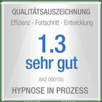 Auszeichnung (Siegel) der Health Care unibee Institute, Qualität der Hypnosen zur Heilung Chronischer Schmerzen wurden mit der Note sehr gut ausgezeichnet