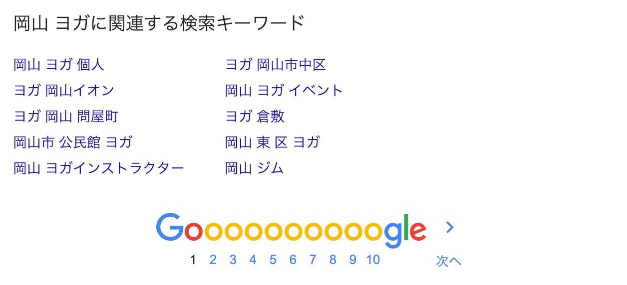 Googleの検索キーワード候補