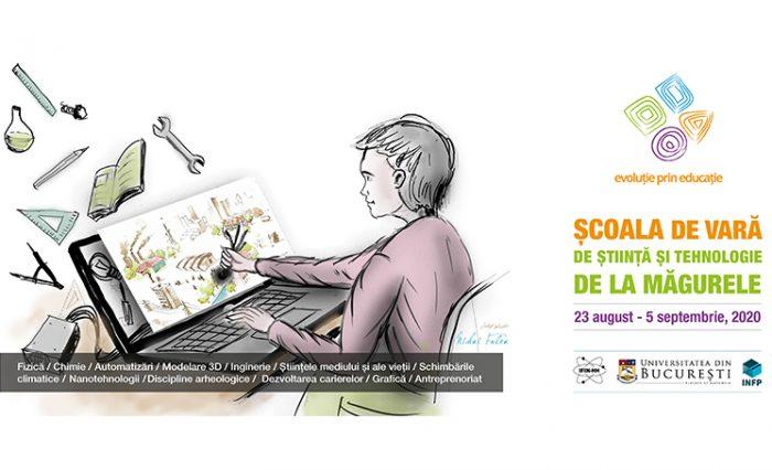 Ilustrație școala de vară de la măgurele 2020, tânăr în fața unui laptop