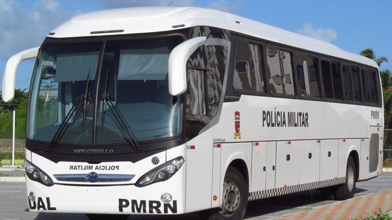 Os novos ônibus da Polícia Militar do RN