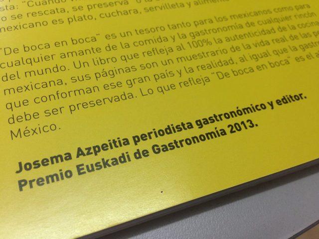 Sobre el libro gastronómico «De Boca en Boca»