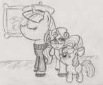 Rarity wearing a beret and black sweater looking pleased, Sweetie Belle on her back looking bored, Apple Bloom walking next to her, grinning at Sweetie Belle