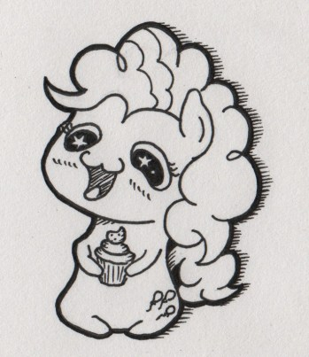 DERP sketch of Pinkie Pie holding a cupcake