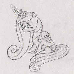 Princess Cadance sitting, extremely tired, which casting a spell