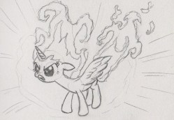 Princess Twilight Spakle with her mane and tail as bursting flames