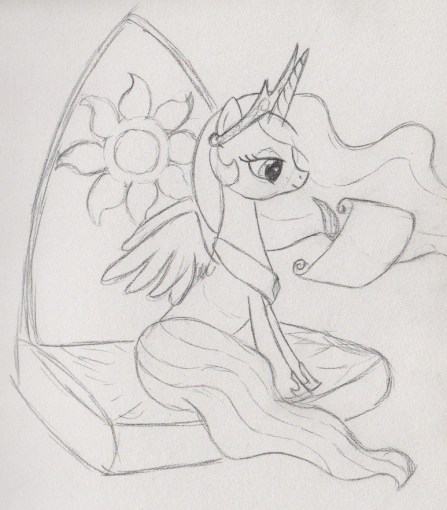 Celestia sitting on a throne, writing on a scroll