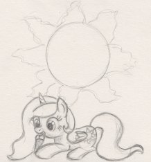 Young Princess Celestia enjoying ice cream, with the sun hovering above her