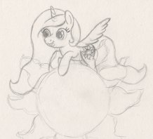 Young Princess Celestia flying just above the sun