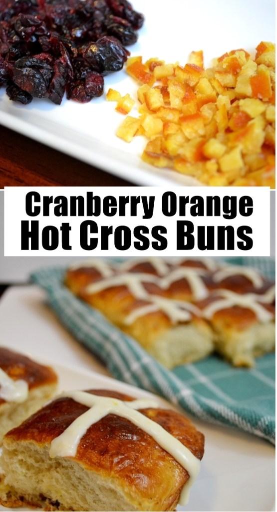 Cranberry Orange Hot Cross Buns Recipe Pin   Unicorn Hideout