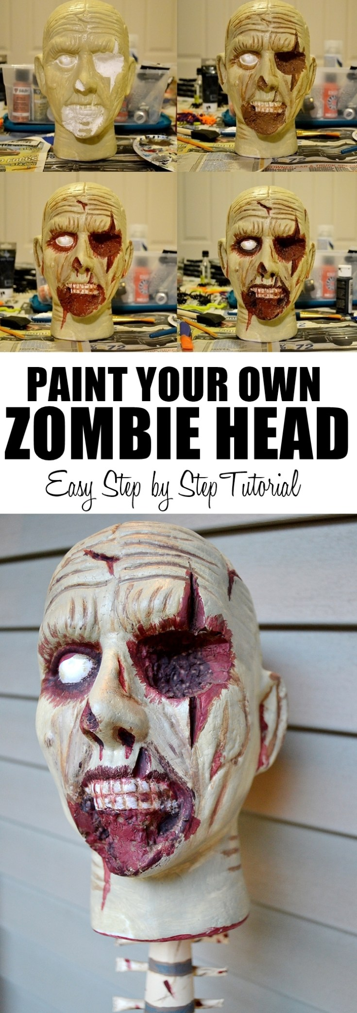 Easy Zombie Head Prop Painting Tutorial