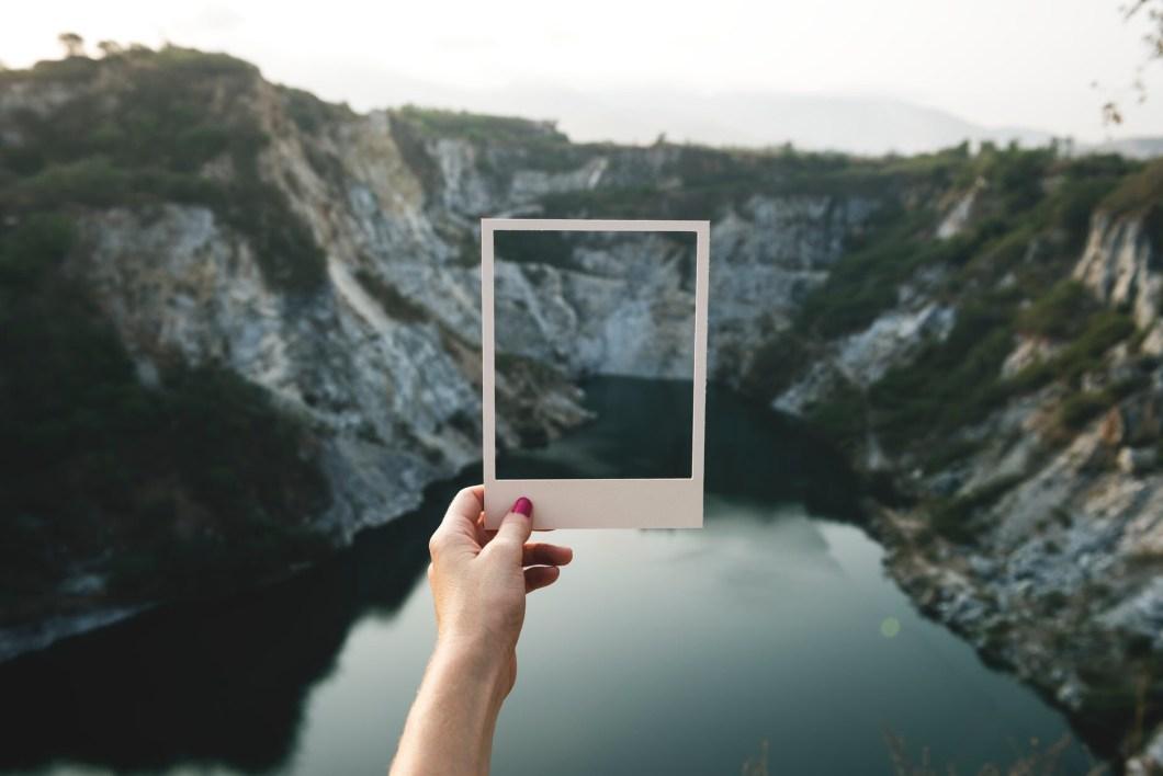 Polaroid frame in scenery