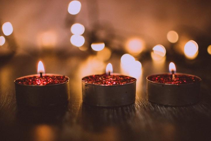Three Christmas candles