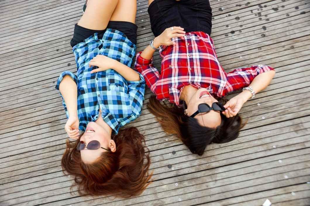 two female friends in sunglasses