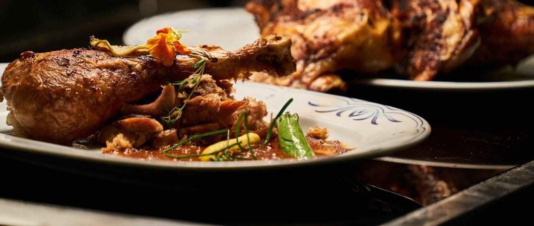 roast chicken dinner on a plate
