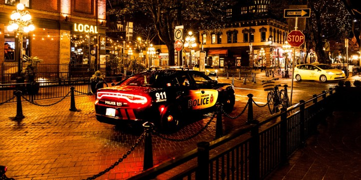 police car parked at night in the street with christmas lights in trees and bars around