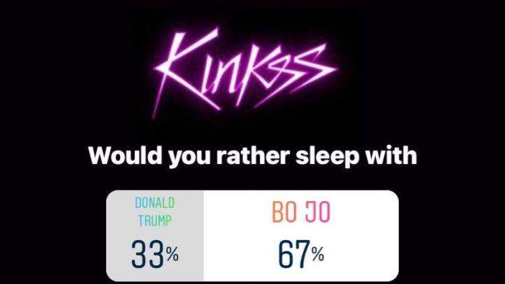 Kinkss social media poll on Bojo versus Trump.  Kinks is a new swinger website starting April 2021