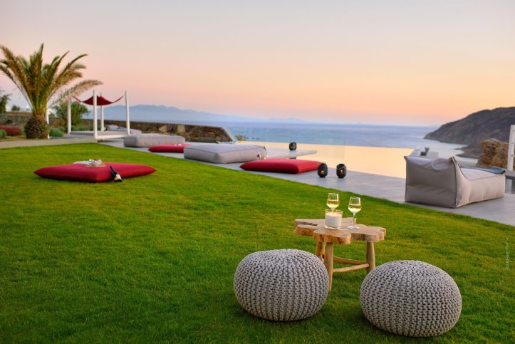Outdoor space and view at swingers in mykonos holiday