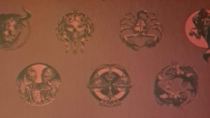 Wallpaper of vintage astrological depictions at Electrowerkz