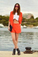 athens, greece, port, vouliagmeni, orange shorts, blazer, gina tricot