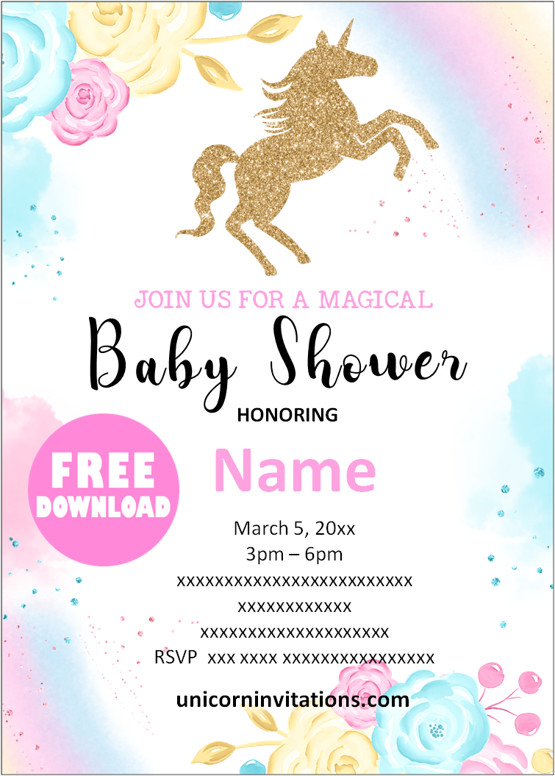 free printable unicorn baby shower