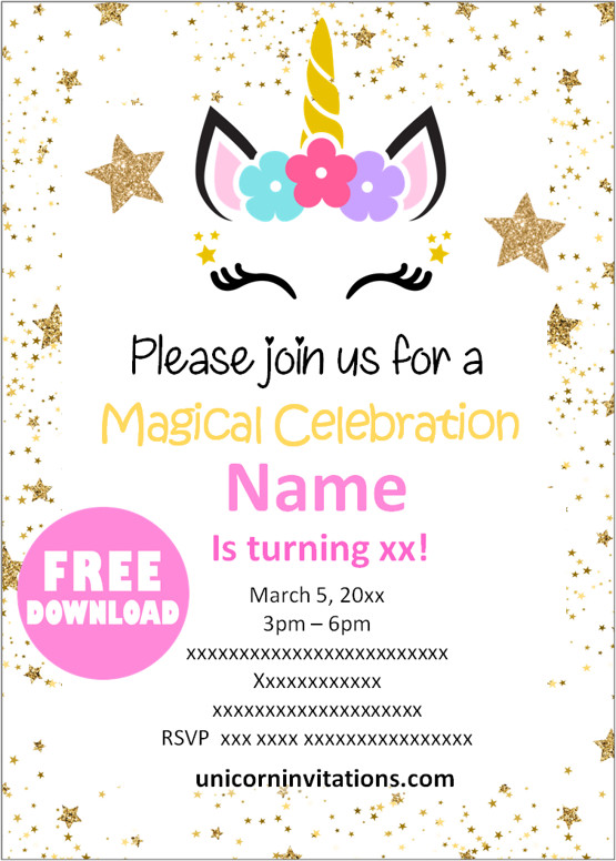 free printable unicorn birthday