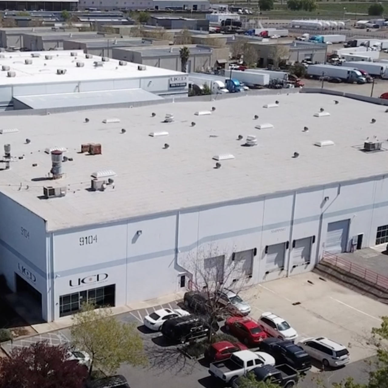 an aerial photograph of a warehouse