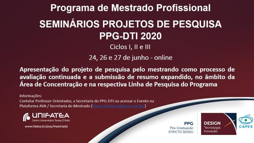 Banner Seminários Projetos de Pesquisa PPG-DTI – Junho 2020