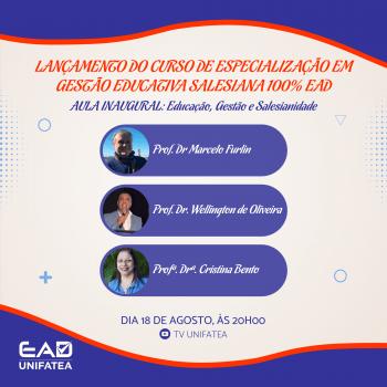 Novidade na Pós-Graduação: Live de lançamento do novo Curso de Gestão Educativa Salesiana 100% EAD