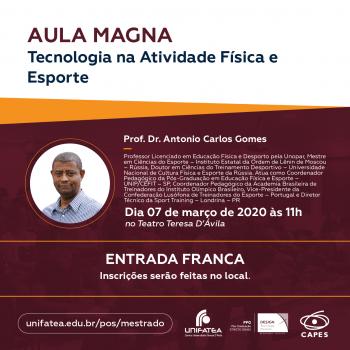 """Aula Magna do PPG-DTI intitulada """"Inovação e Tecnologia nas Atividades Físicas – Saúde e Esporte"""