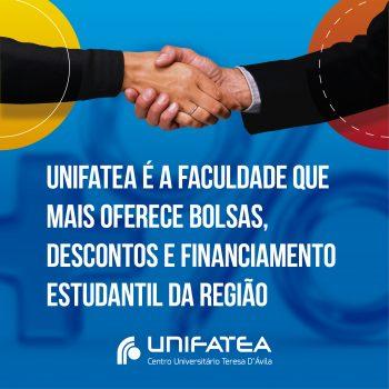 UNIFATEA é a faculdade que mais oferece bolsas, descontos e financiamento estudantil da região