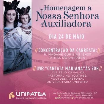 Nossa Senhora Maria Auxiliadora será celebrada com carreata nas ruas de Lorena neste 24 de maio