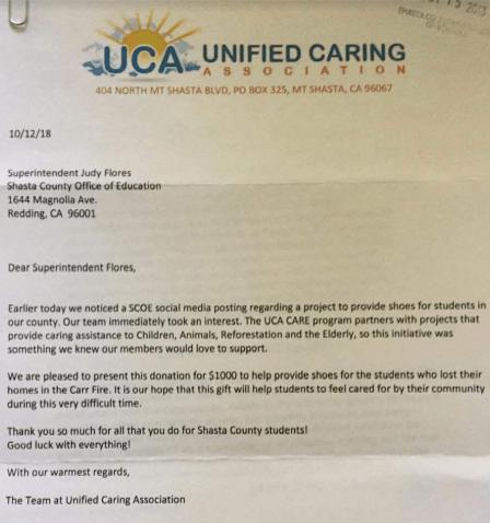 UCA Fire Letter